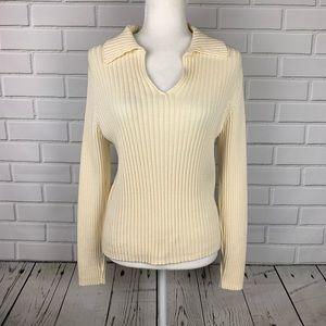 LIZ CLAIBORNE Lizwear Cable Knit V-Neck Sweater Lg